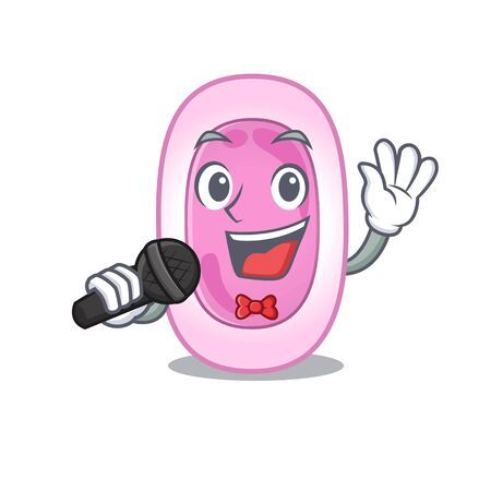 Talented singer of bordetela pertussis cartoon character holding a microphone Illustration