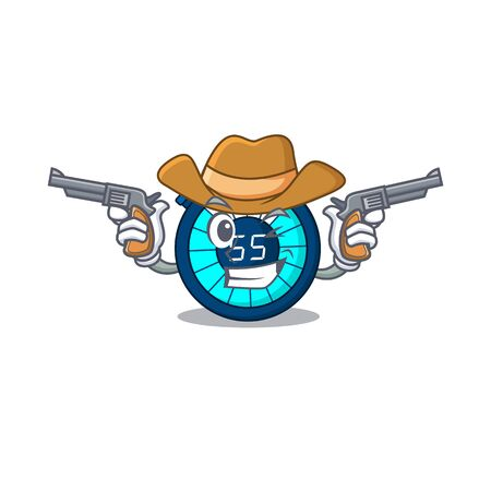 Cute handsome cowboy of hourglass cartoon character with guns Illustration