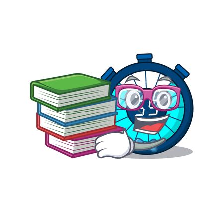 A diligent student in hourglass mascot design concept with books