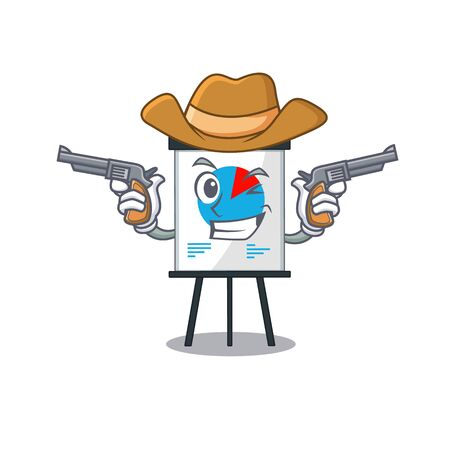 Cute handsome cowboy of corona graph cartoon character with guns. Vector illustration