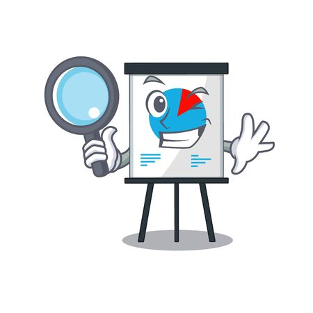 Smart Detective of graph mascot design style with tools. illustration Vettoriali