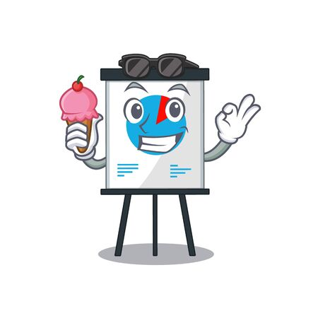 Cartoon design concept of graph having an ice cream. illustration