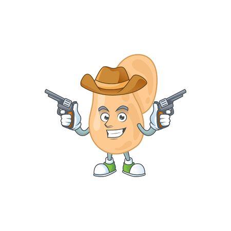 A cowboy cartoon character of sarcina holding guns. Vector illustration