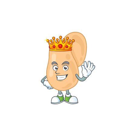 The Charismatic King of sarcina cartoon character design wearing gold crown. Vector illustration Illusztráció