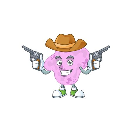A cowboy cartoon character of tetracoccus holding guns. Vector illustration Illustration
