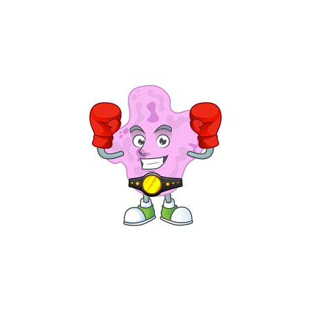 A sporty tetracoccus boxing athlete cartoon mascot design style. illustration Illustration