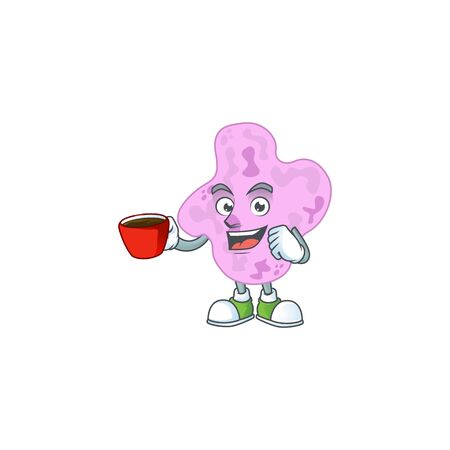 An image cartoon character of tetracoccus with a cup of coffee. illustration Ilustração