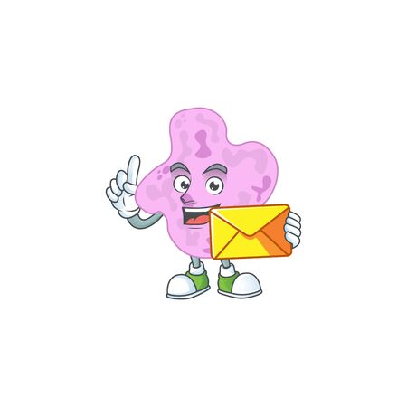 Cute face tetracoccus mascot design bring brown envelope. illustration