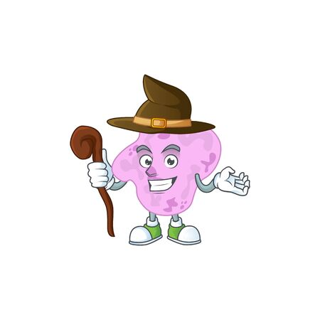 Cute and sneaky Witch tetracoccus cartoon design style. Vector illustration