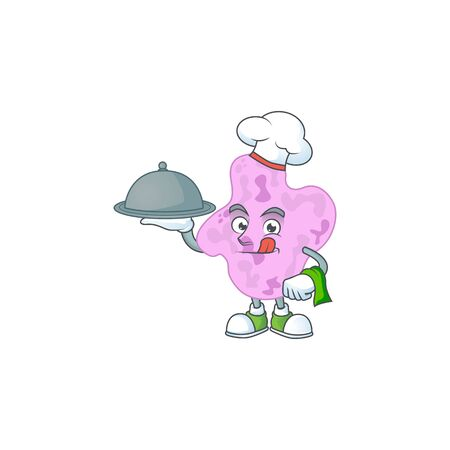 A tetracoccus chef cartoon design with hat and tray. illustration