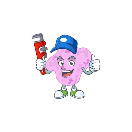 Mascot design concept of tetracoccus work as smart Plumber. illustration Illustration