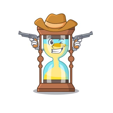Cute handsome cowboy of chronometer cartoon character with guns