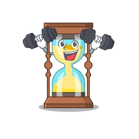 Mascot design of smiling Fitness exercise chronometer lift up barbells