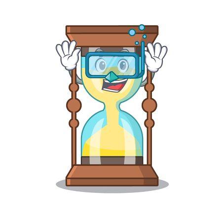 Chronometer mascot design concept wearing diving glasses