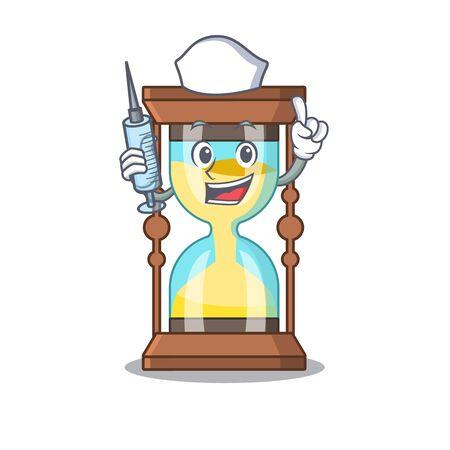 A nice nurse of chronometer mascot design concept with a syringe
