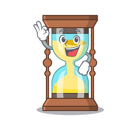 Chronometer mascot design style with an Okay gesture finger