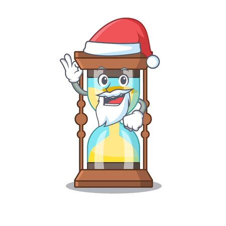 Chronometer Santa cartoon character with cute ok finger Illustration