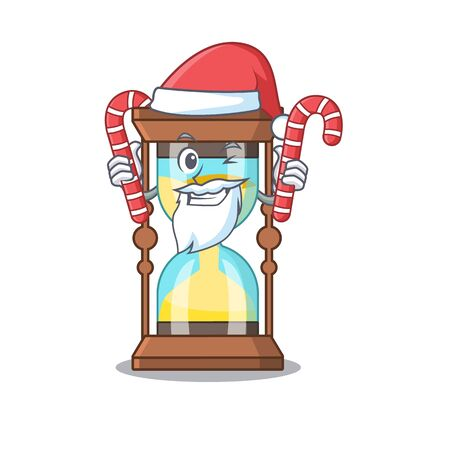 Friendly chronometer in Santa Cartoon character holds Christmas candies