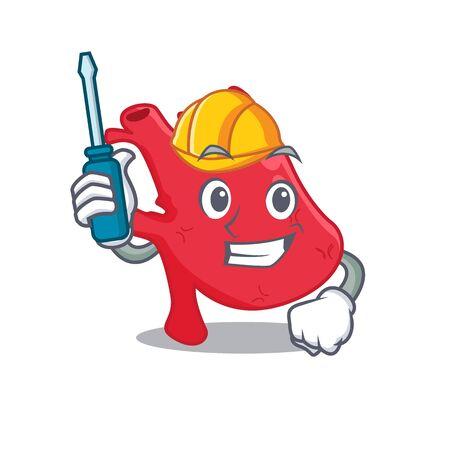cartoon character of heart worked as an automotive Vektoros illusztráció