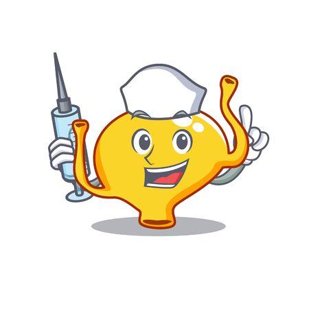 A nice nurse of bladder mascot design concept with a syringe