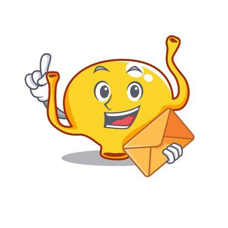 Happy bladder mascot design concept with brown envelope Ilustracja