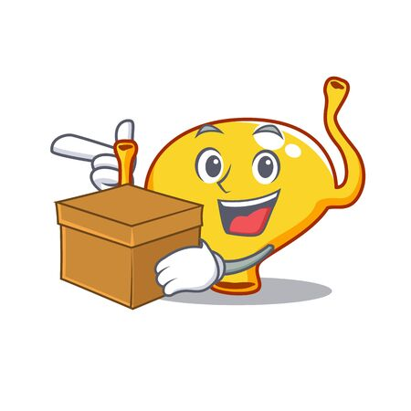 An picture of bladder cartoon design concept holding a box