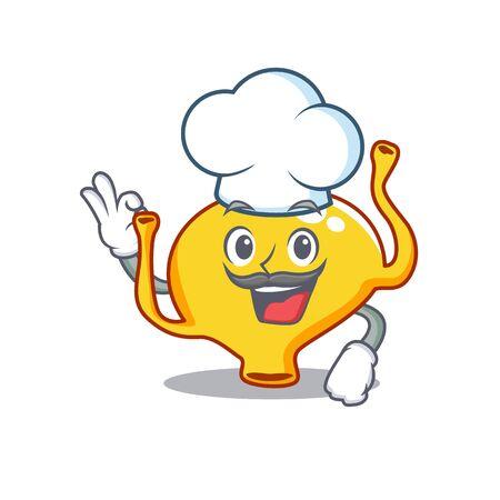 Bladder chef cartoon design style wearing white hat