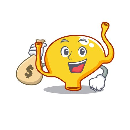 Rich bladder cartoon design holds money bags