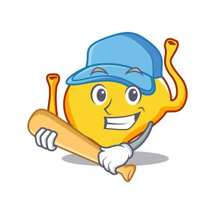 Picture of bladder cartoon character playing baseball