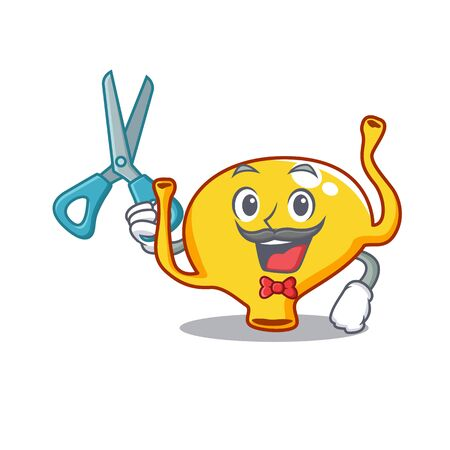 Sporty bladder cartoon character design with barber