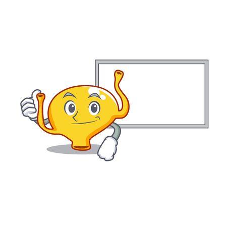 Humorous bladder cartoon design Thumbs up bring a white board