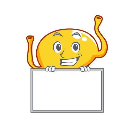 Smiling bladder cartoon design style has a board Illustration