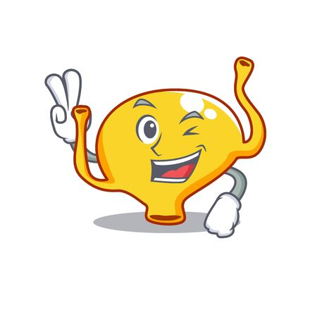 Happy bladder cartoon design concept with two fingers