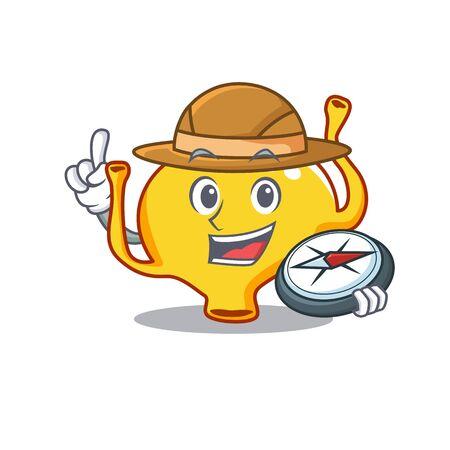 mascot design concept of bladder explorer with a compass