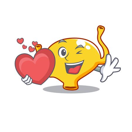 A sweet bladder cartoon character style with a heart