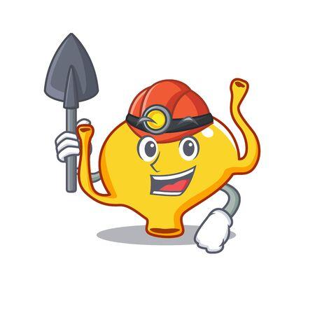 Bladder miner cartoon design concept with tool and helmet