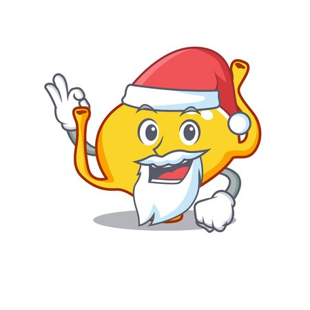 Bladder Santa cartoon character with cute ok finger