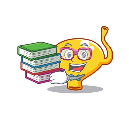A diligent student in bladder mascot design concept with books