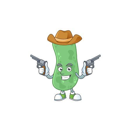 A cowboy cartoon character of enterobacteriaceae holding guns. Vector illustration