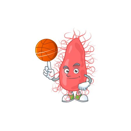 An athletic escherichia cartoon design style playing basketball. Vector illustration