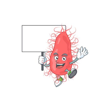 Sweet escherichia cartoon character rise up a board. Vector illustration