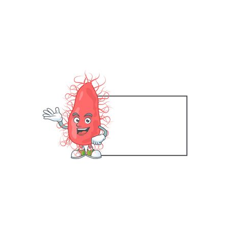An image of escherichia with board mascot design style. Vector illustration