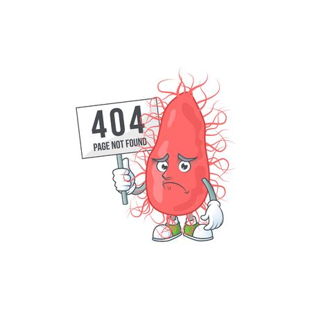 Sad face of escherichia cartoon character raised up 404 boards. Vector illustration