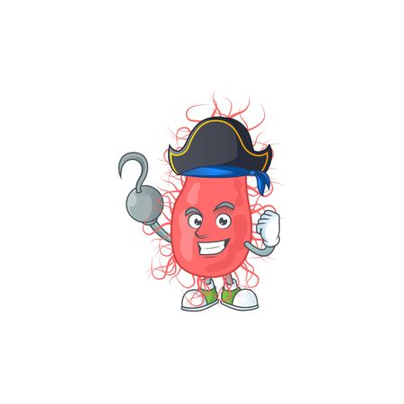 Cool pirate of escherichia cartoon design style with one hook hand. Vector illustration
