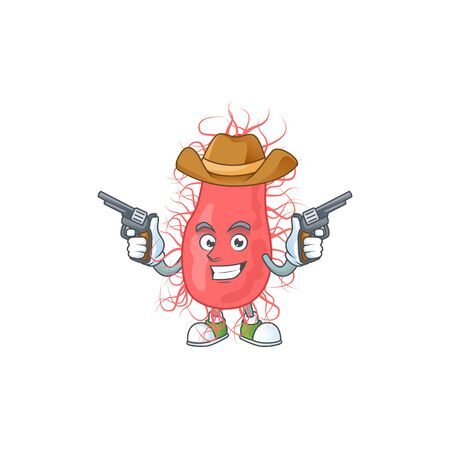 A cowboy cartoon character of escherichia holding guns. Vector illustration Illustration