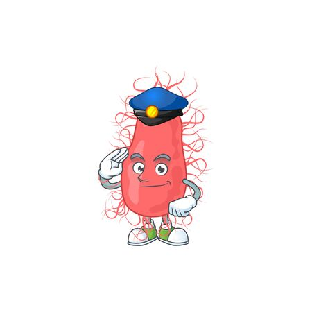 A dedicated Police officer of escherichia mascot design style. Vector illustration
