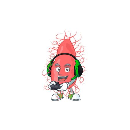 A cartoon design of escherichia talented gamer play with headphone and controller. Vector illustration