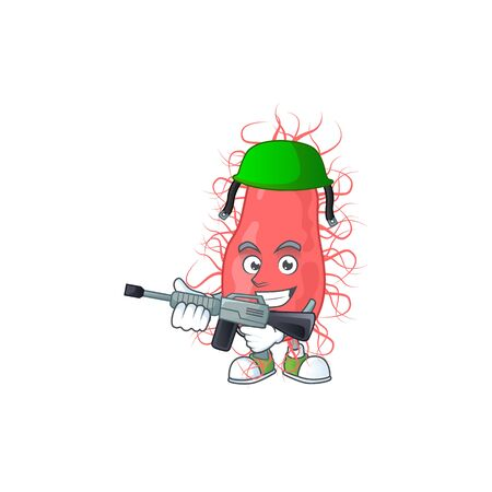 An elegant escherichia Army mascot design style using automatic gun. Vector illustration