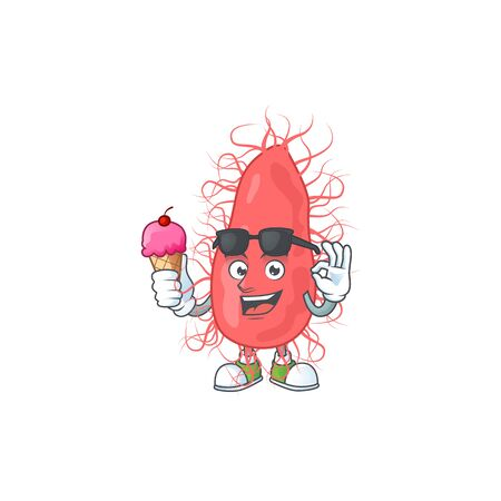 Cute escherichia cartoon character enjoying an ice cream. Vector illustration