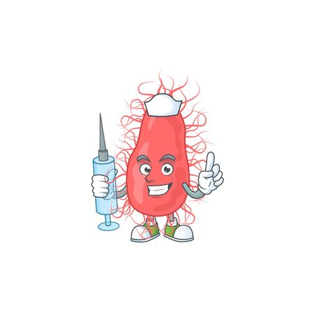 Friendly Nurse escherichia mascot design style using syringe. Vector illustration